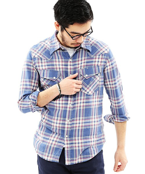 Wrangler×BEAMS-PLUS-check-shirt-1